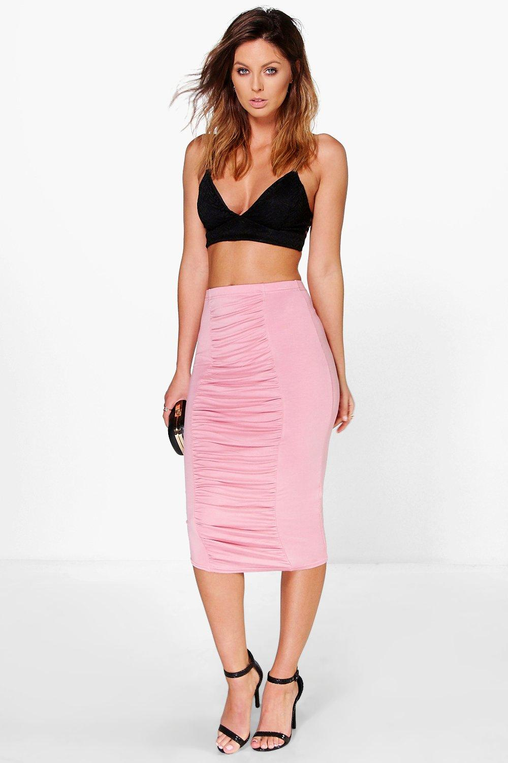 Irayna Rouched Panel Front Midi Skirt