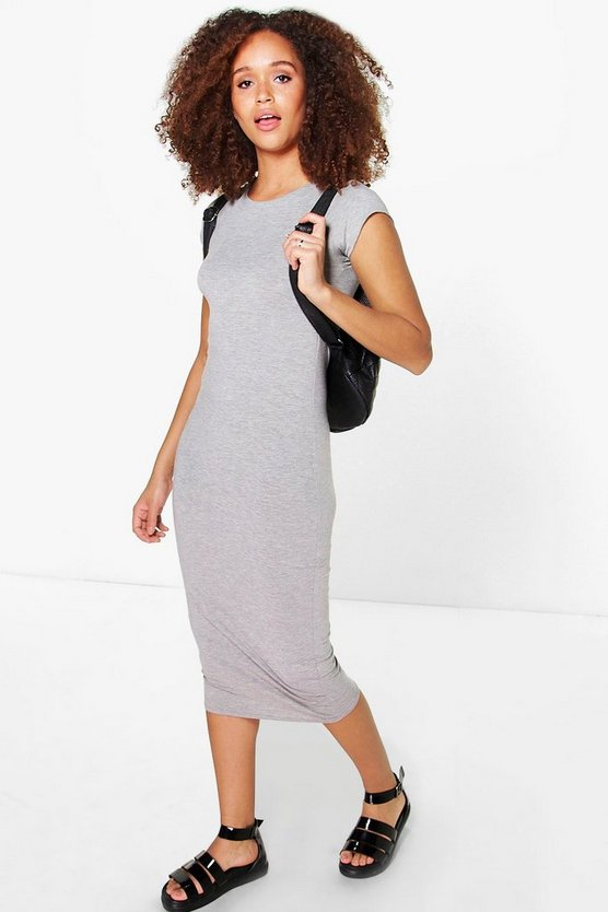 Cara Basic Cap Sleeve Midi Dress