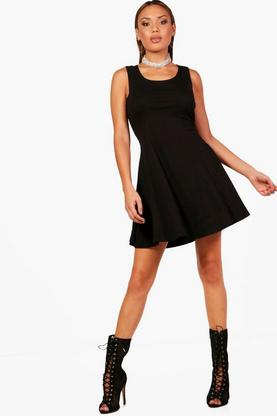 Sara Basic Seam Detail Skater Dress
