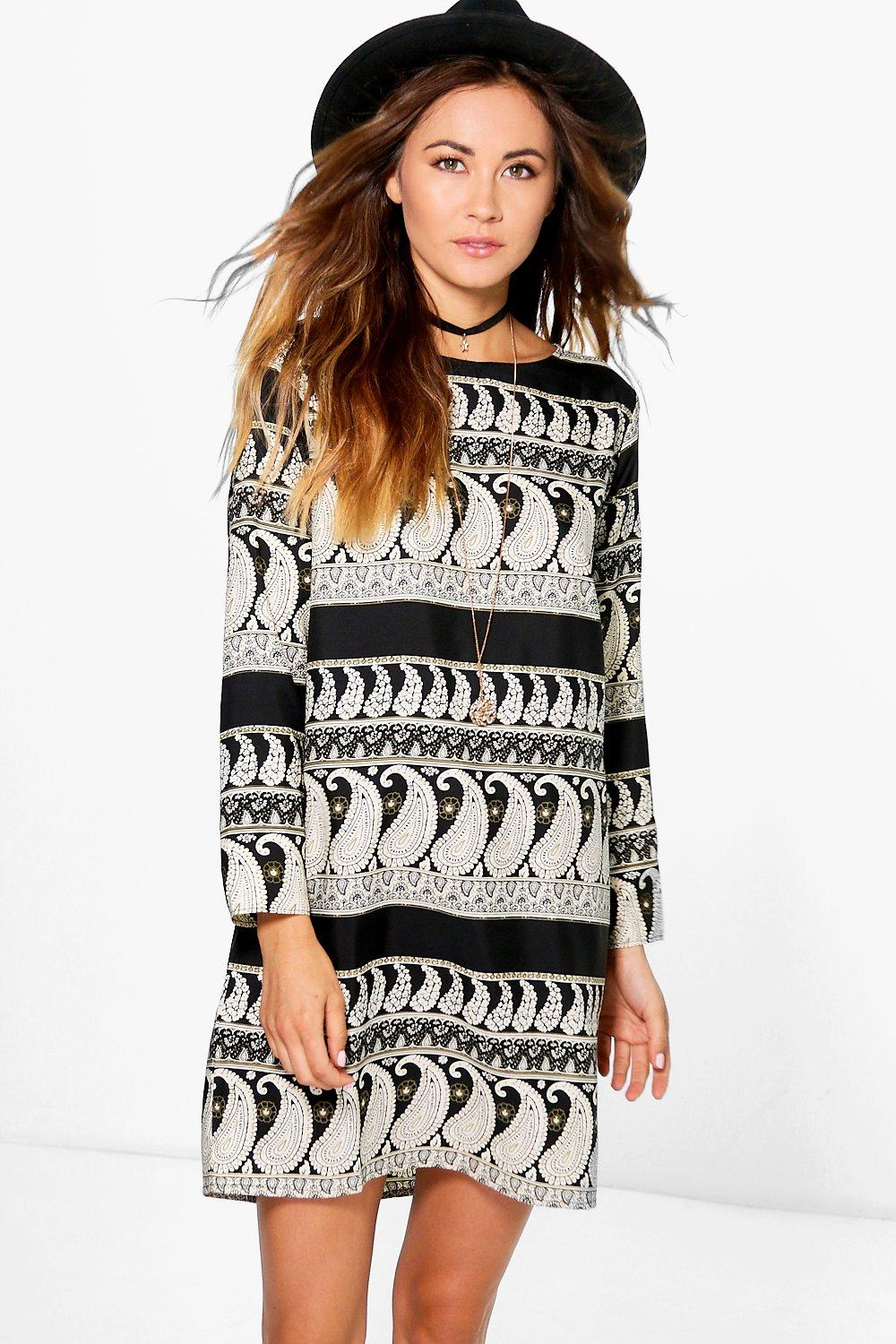 Soph Mono Paisley Long Sleeve Shift Dress