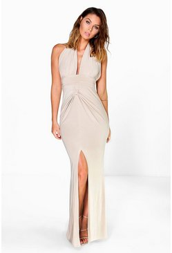 Elise Gathered Knot Plunge Slinky Maxi Dress