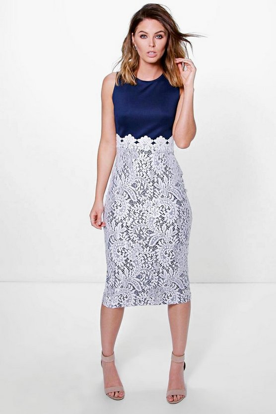 Boutique Leni Lace Panel Midi Bodycon Dress