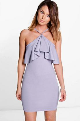 Sadie Cross Strap Frill Layer Bodycon Dress