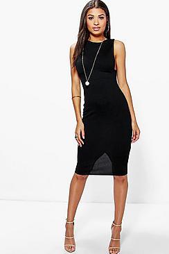 Lucy Low Cut Side Midi Bodycon Dress!