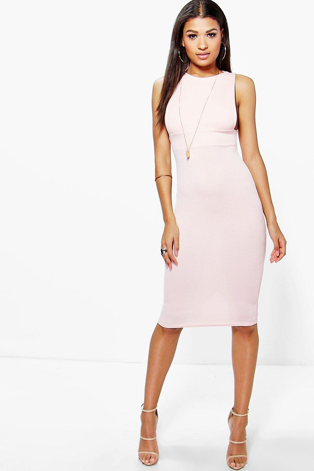 Lucy Low Cut Side Midi Bodycon Dress