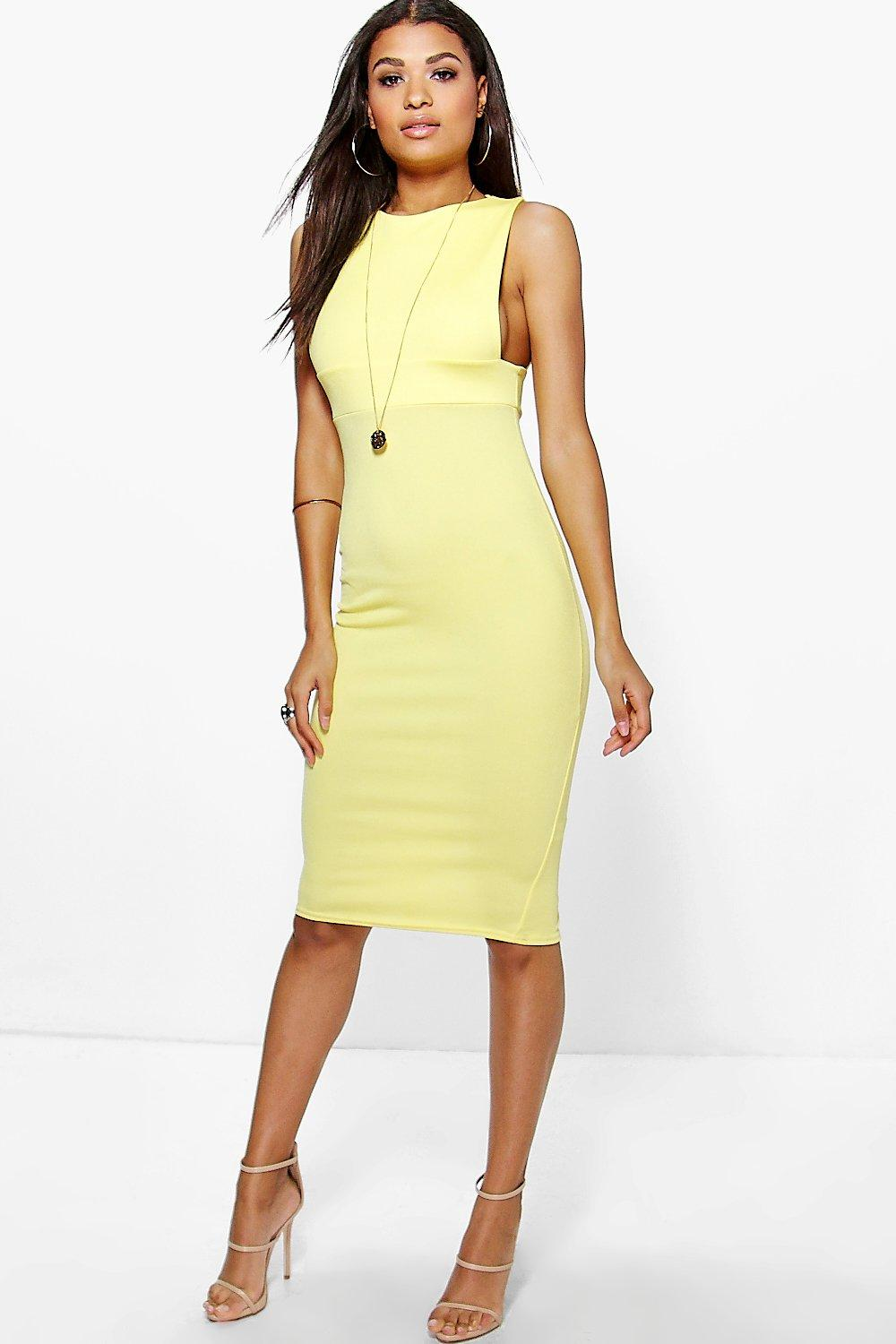 Low Cut Side Midi Bodycon Dress - yellow