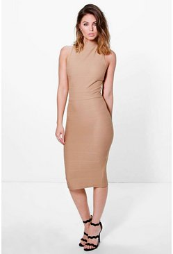 Monica Choker Neck Bandage Midi Dress