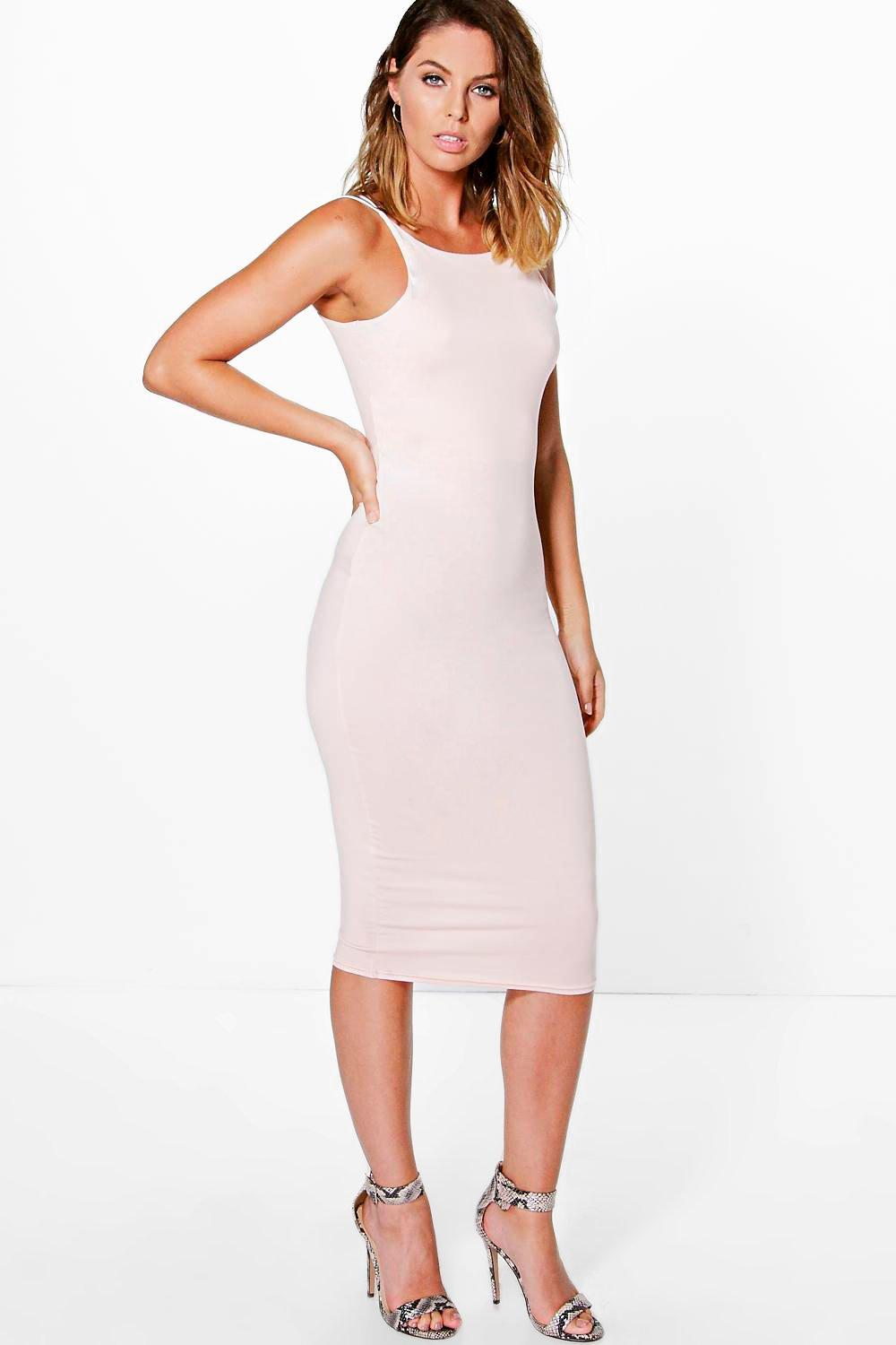 Double Strap Formal Midi Dress blush