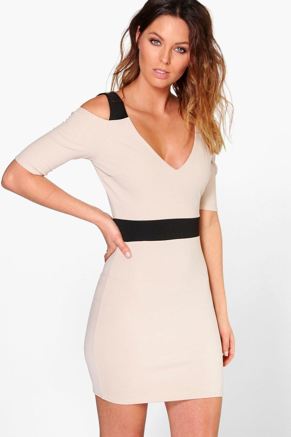 Adria Open Shoulder Contrast Bodycon Dress