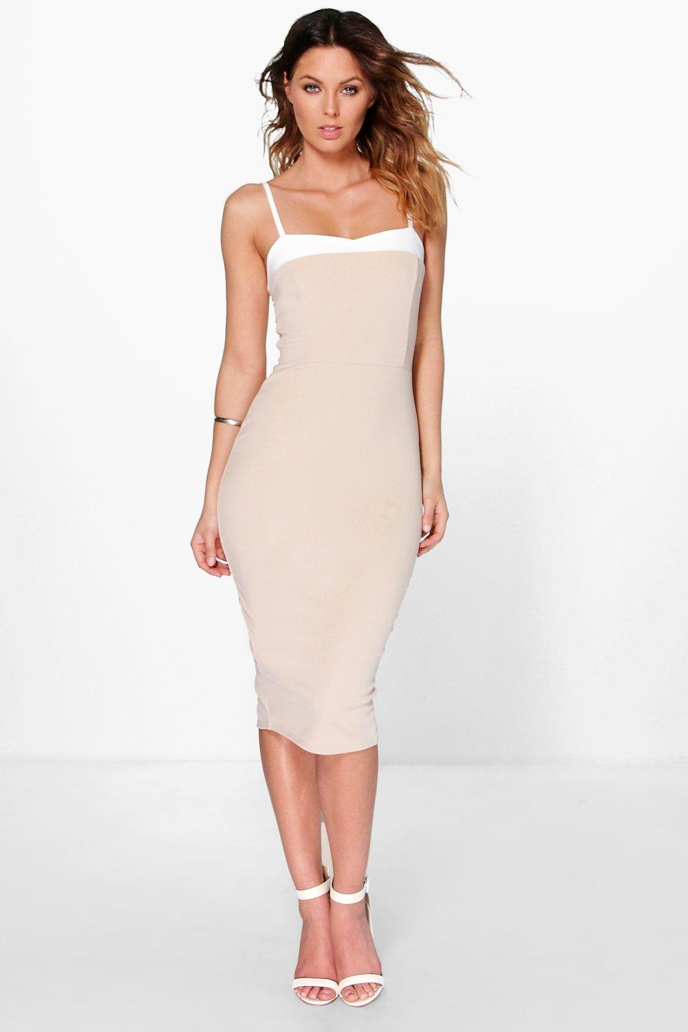 Stassy Sweetheart Contrast Neck Mid Dress