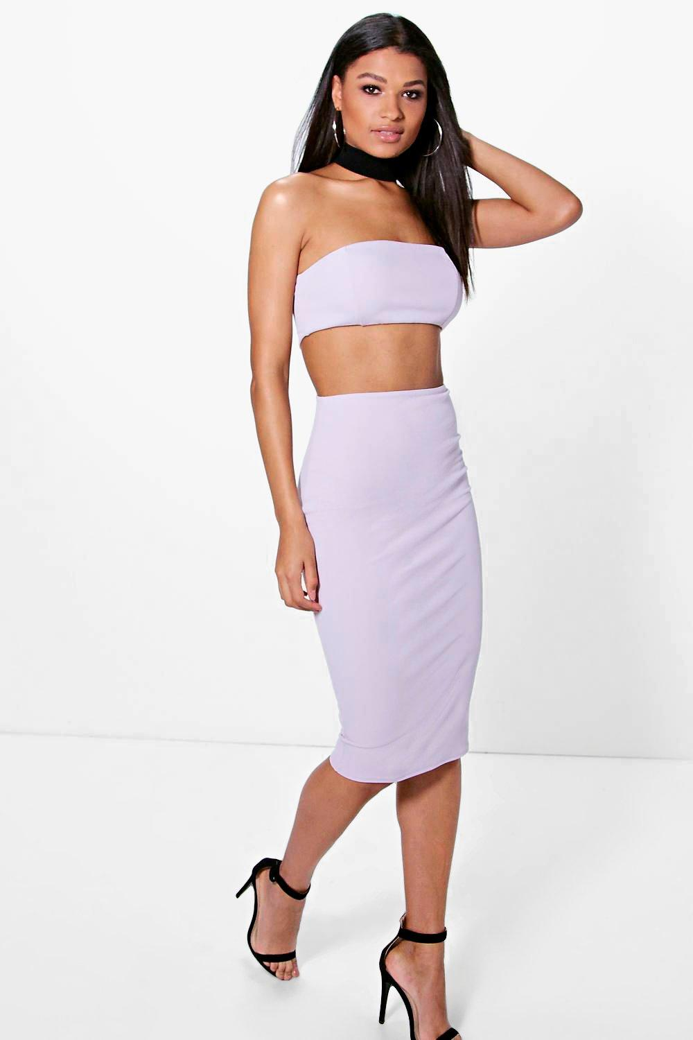 Sinead Contrast Neck Band Bandeau Midi Dress
