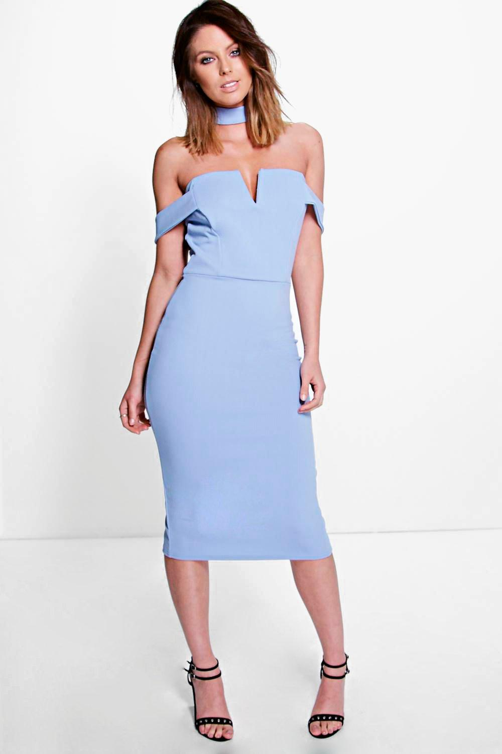 Zahiah Neck Band Midi Bodycon Dress