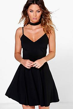 Poppy Choker Strappy Skater Dress