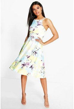Beatrix Floral Strappy Midi Skater Dress