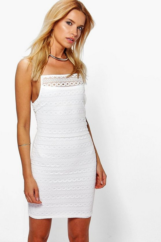 Theodora Square Neck Lace Bodycon Dress