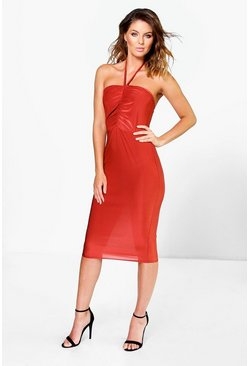 Evron Ruched Front Detail Halter Tie Midi Dress