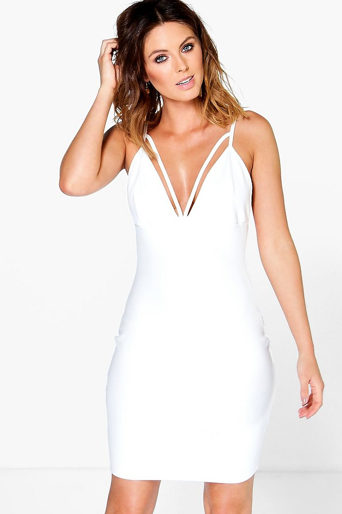 Lina Crepe Strappy Plunge Neck Bodycon Dress