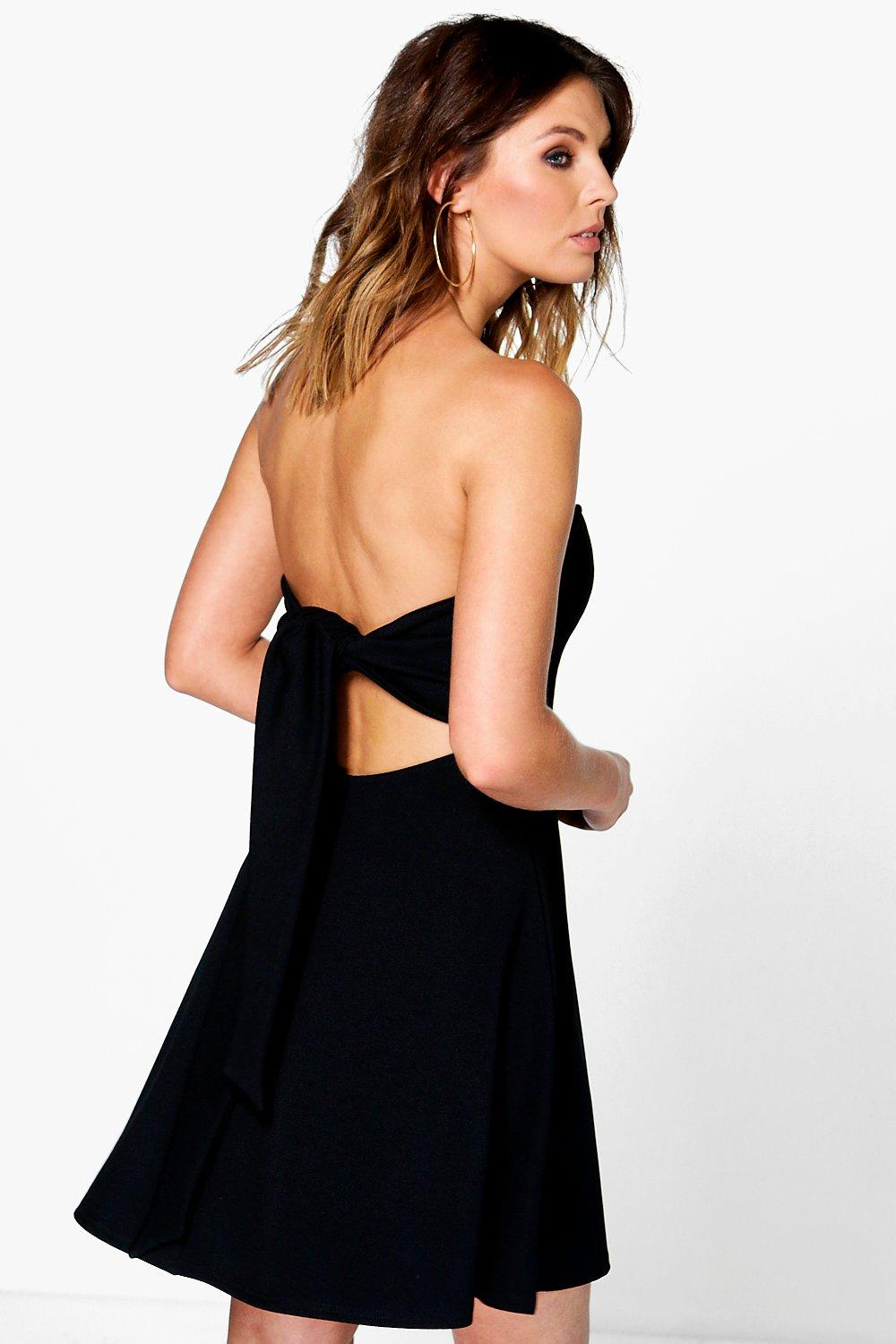 Plunge Neck Tie Back Bandeau Skater Dress  black
