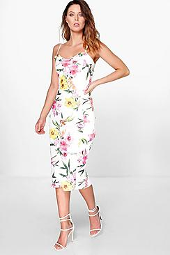 Marlena Strappy Floral Midi Bodycon Dress