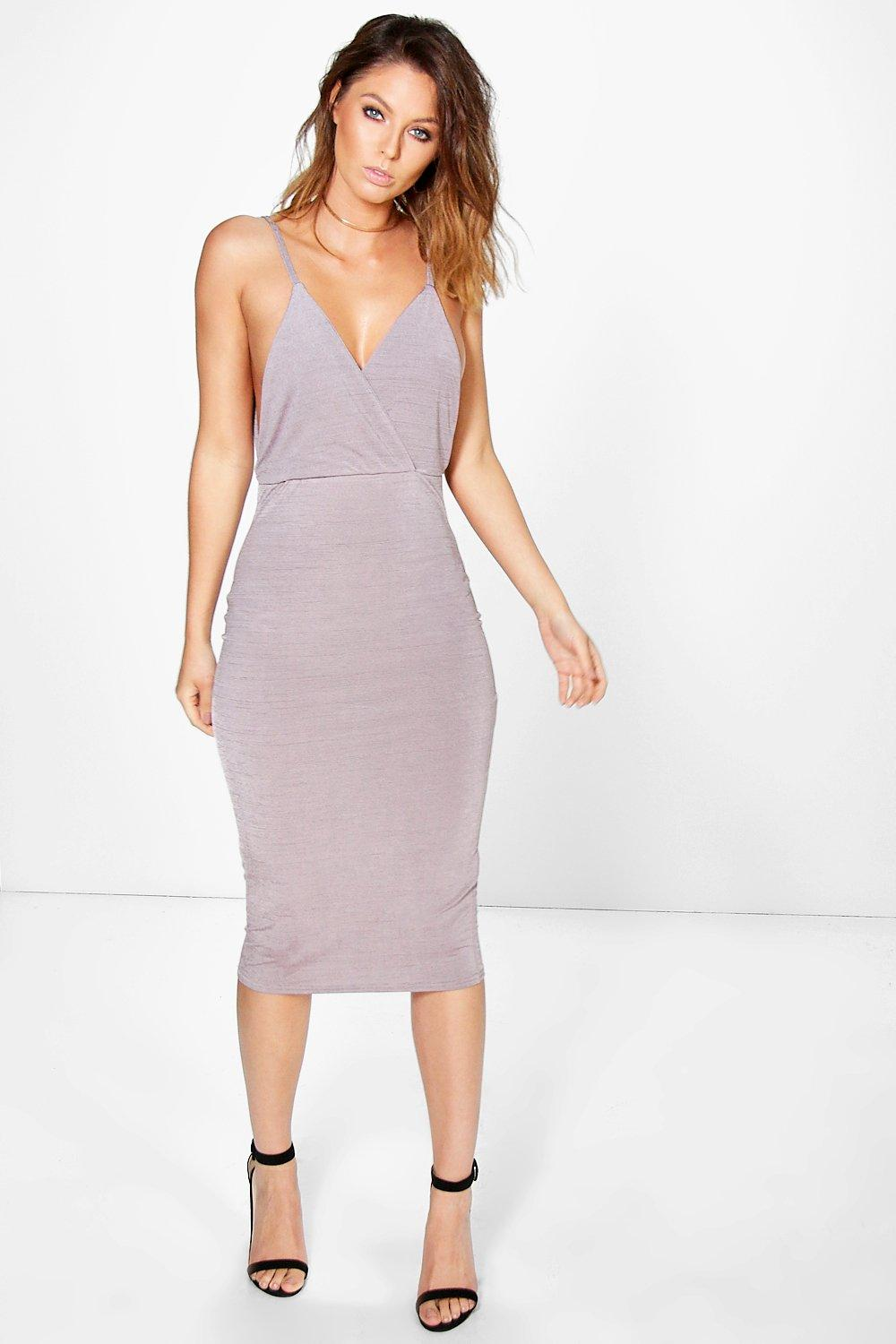 Drape Cowl Textured Slinky Midi Dress  purple