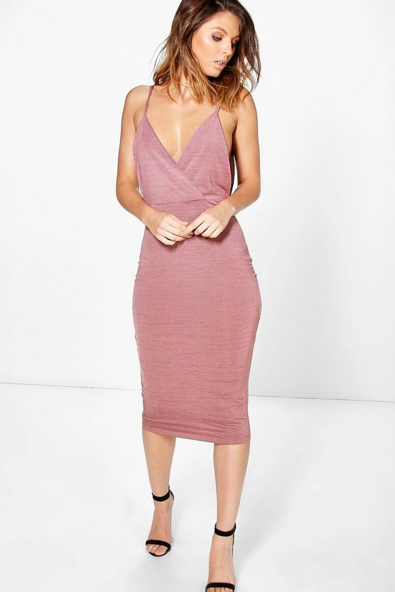 Kylia Drape Cowl Textured Slinky Midi Dress