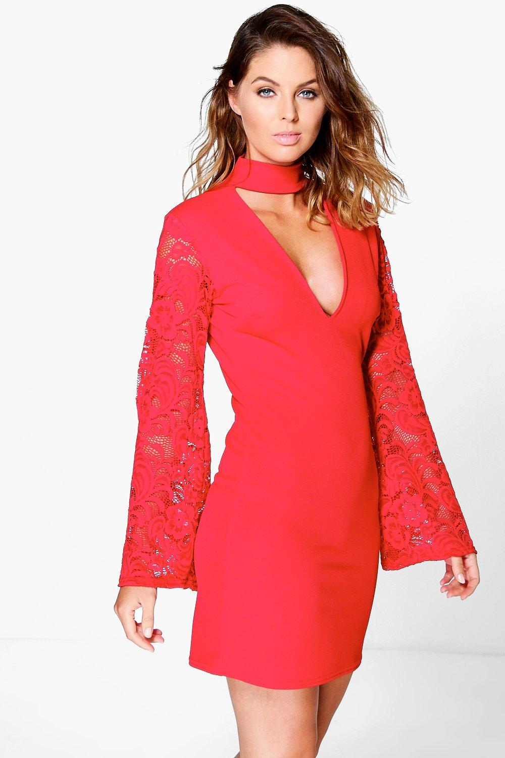 High Neck Lace Sleeve Shift Dress red