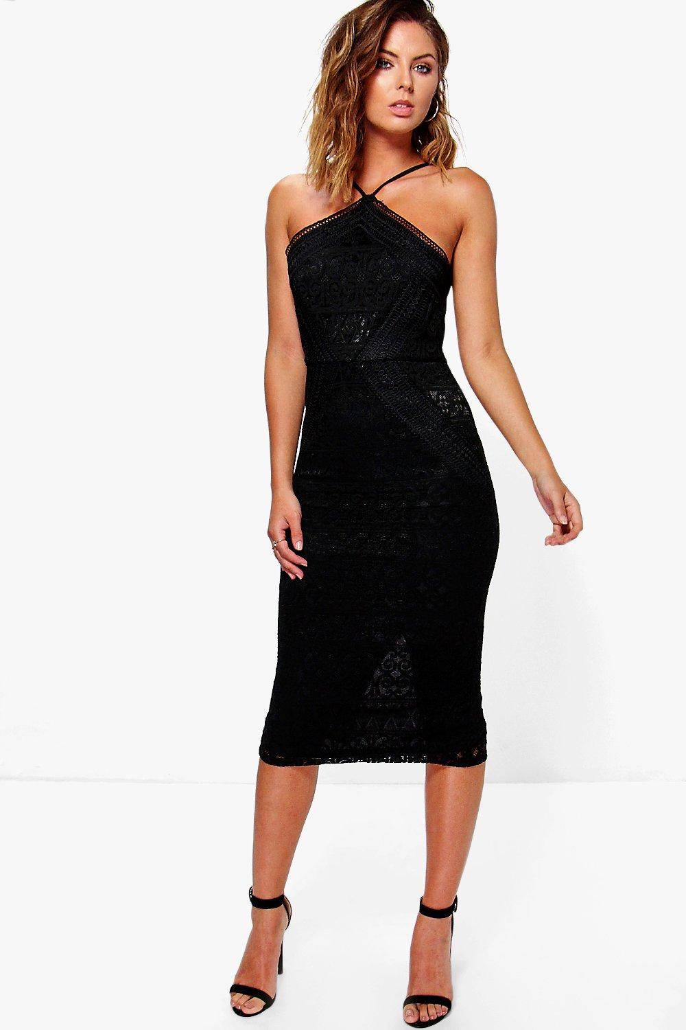 Strappy Lace Panelled Midi Bodycon Dress black