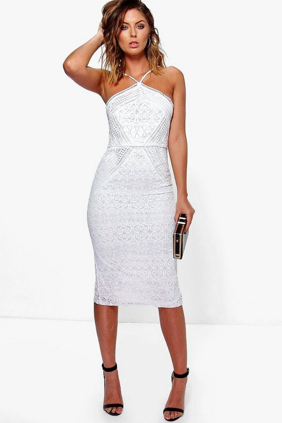 Issy Strappy Lace Panelled Midi Bodycon Dress