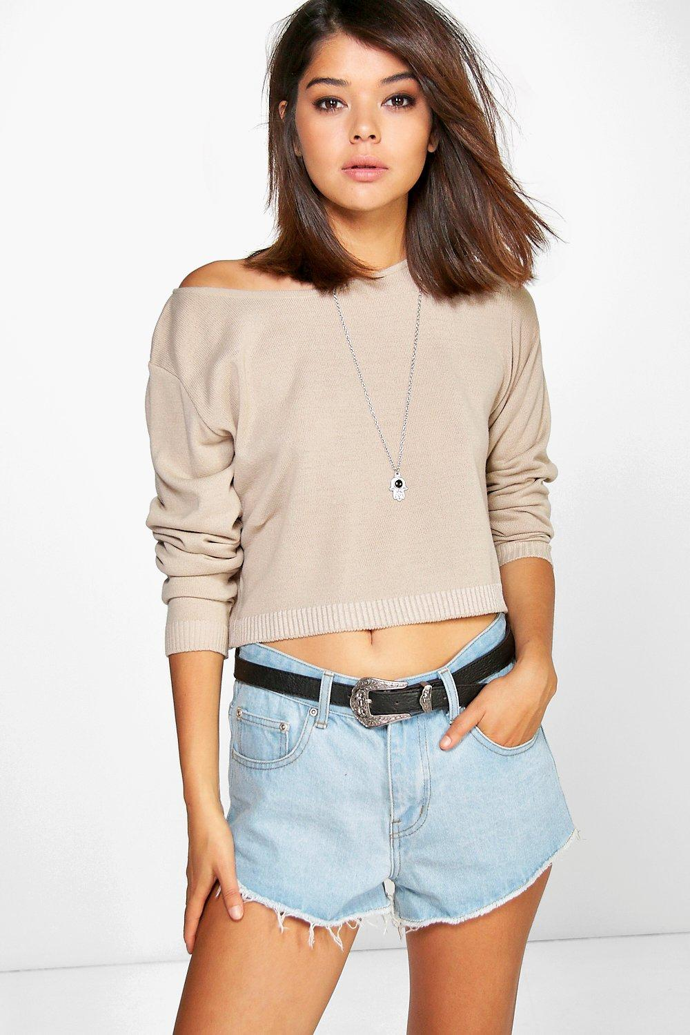 Luna Slash Neck Crop Jumper