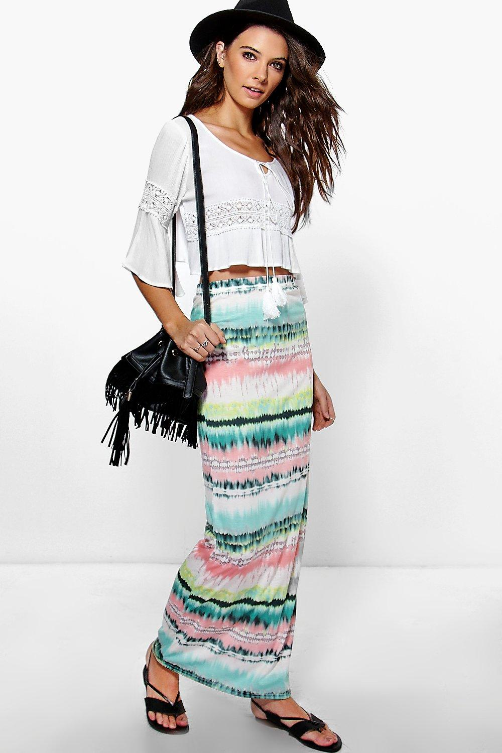 Amari Tonal Blurred Maxi Skirt