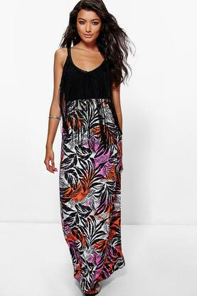 Ali Tropical Palm Print Floor Sweeping Maxi Skirt