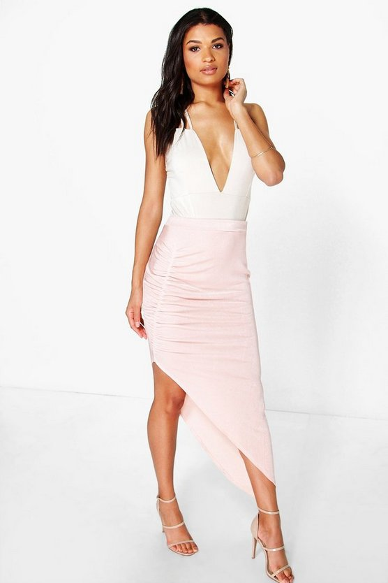 Ivanka Textured Slinky Rouched Side Midi Skirt