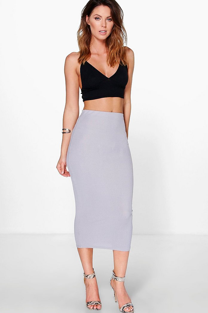 Ivanna Ribbed Longer Line Midi Skirt