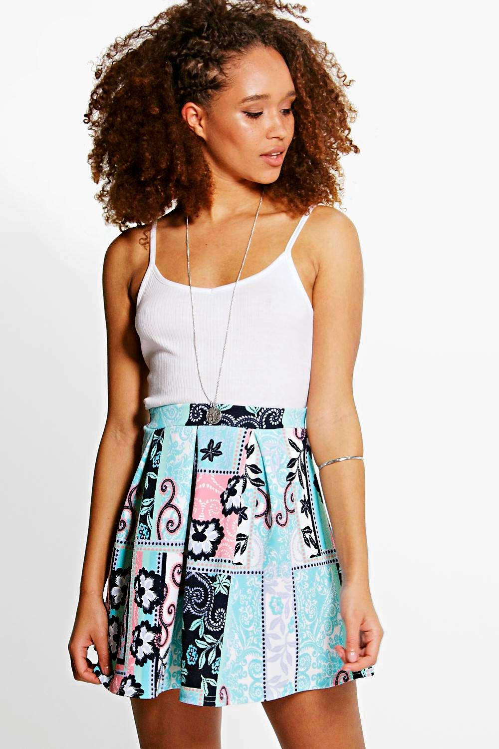 Bahira Floral Print Box Pleat Skater Skirt