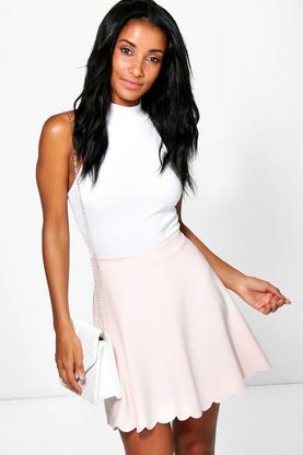 Bella Scuba Scalloped Hem Skater Skirt