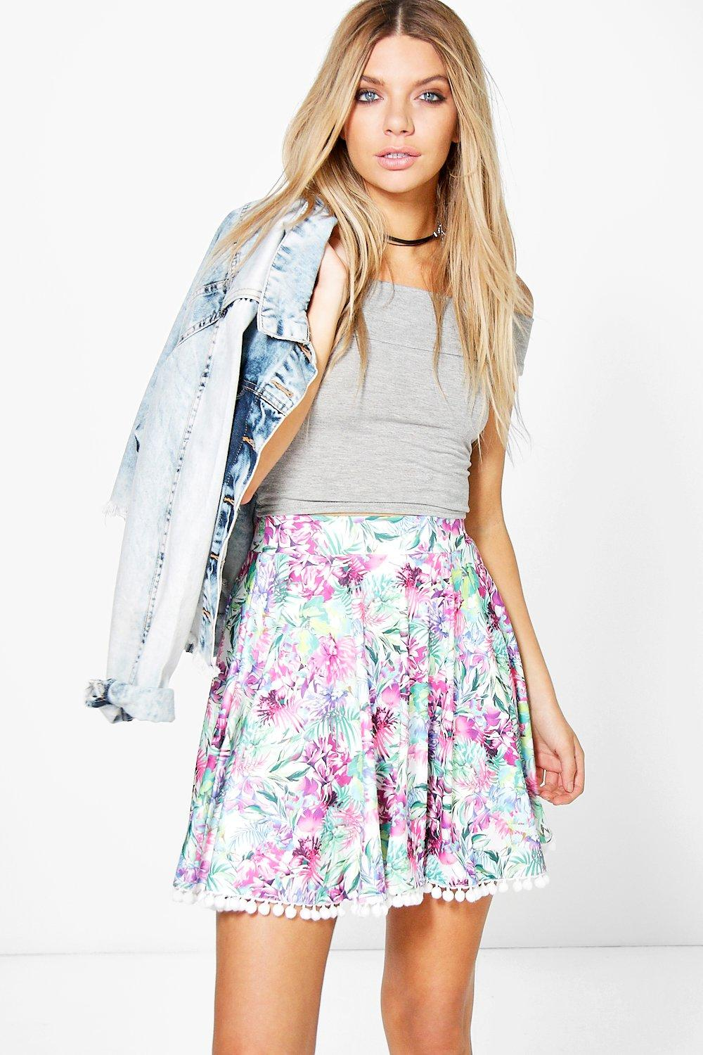 Bright Palm Pom Pom Trim Skater Skirt multi