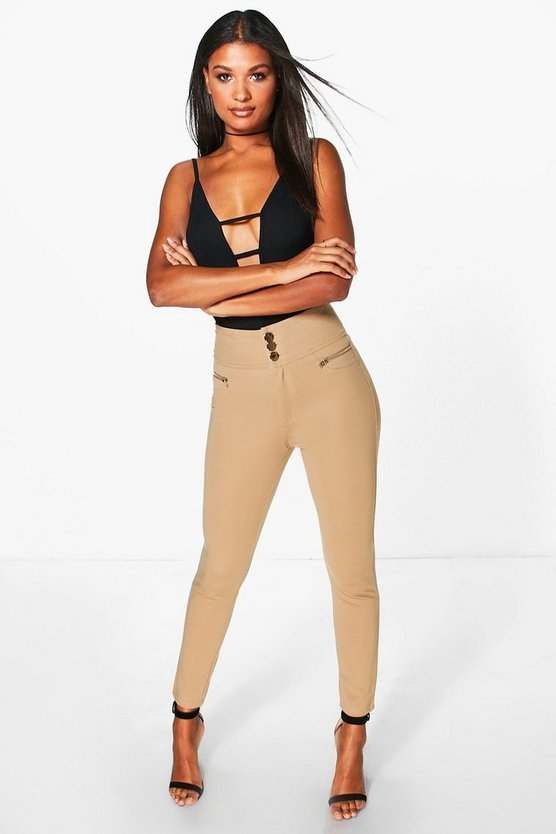 Sofia 3 Button High Rise Skinny Trousers