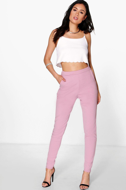 Crepe Super Stretch Skinny Trousers mauve