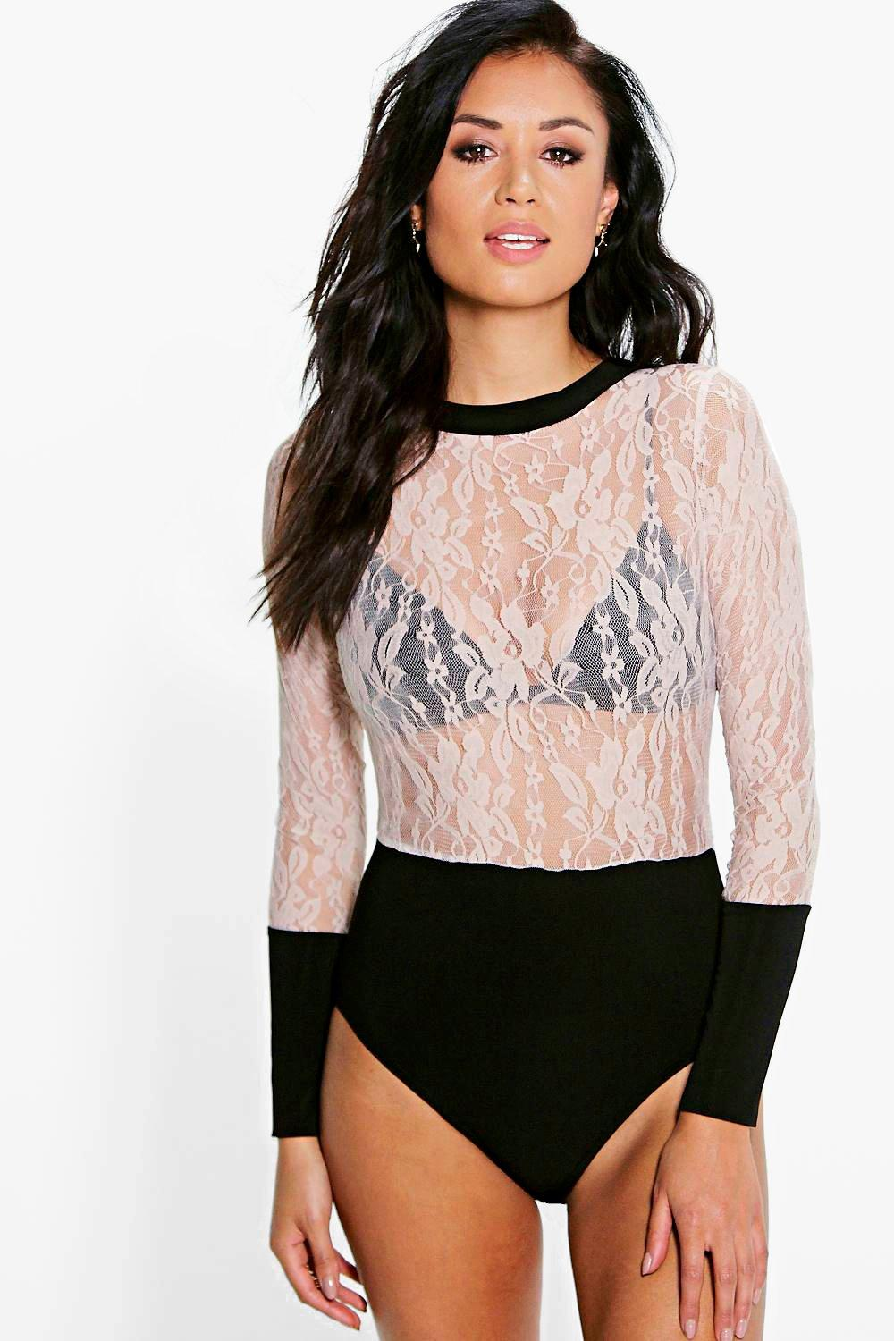 Florence Long Sleeve Lace Turtle Neck Bodysuit