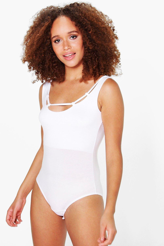 Scoop Neck Caged Detail Bodysuit white