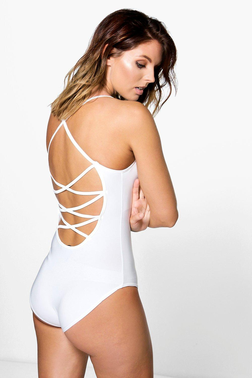 Rebecca Strappy Back Cowl Neck Slinky Bodysuit