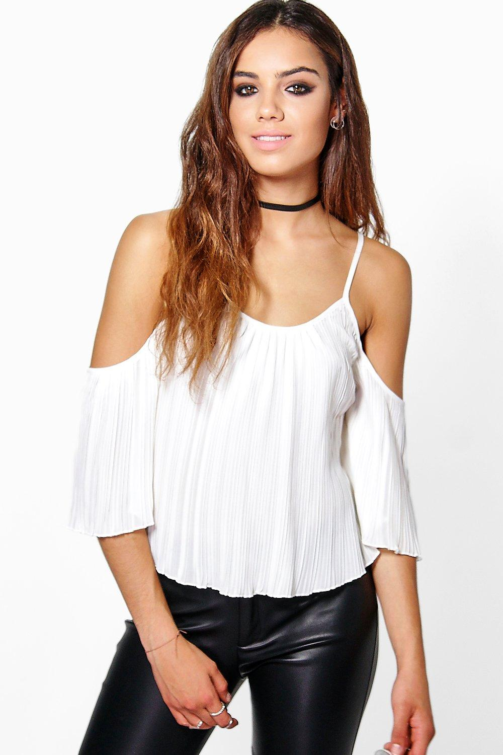 Rosie Woven Pleated Cold Shoulder Top