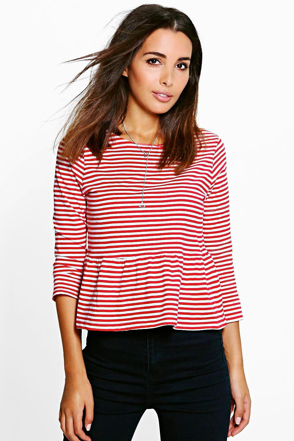 Stripe Jersey Peplum Tee red