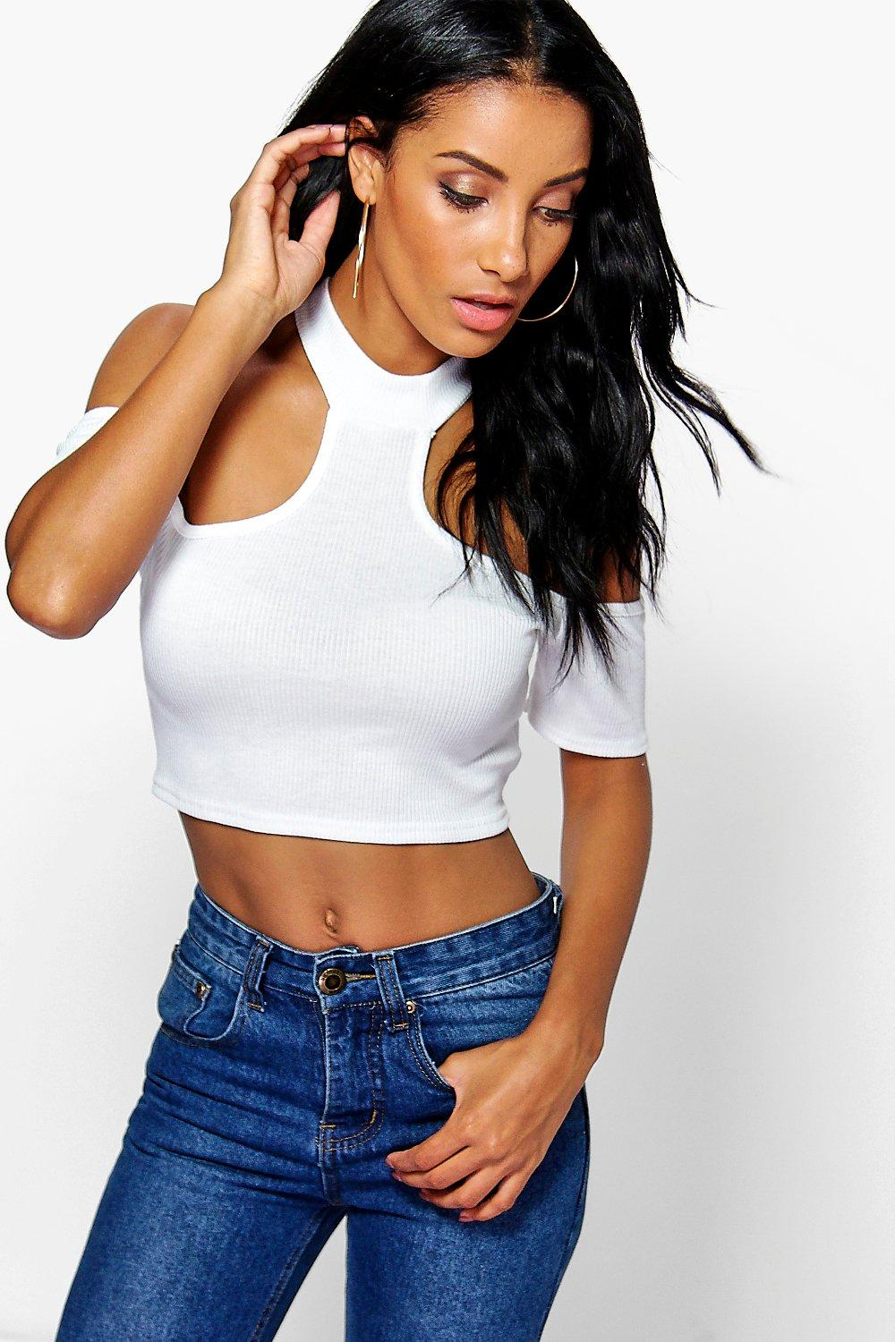 Holly Rib Cold Shoulder Crop