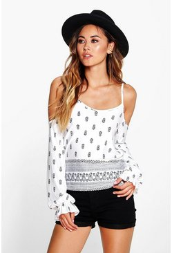 Daisy Border Print Cold Shoulder Top