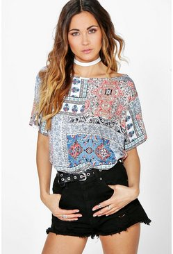 Freya Mixed Print Off The Shoulder Tee