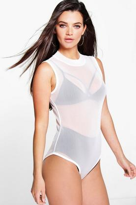 Ava Turtle Neck Sleeveless All Over Mesh Body