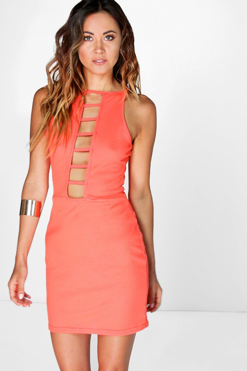 Ribbed Ladder Front Bodycon Dress coral