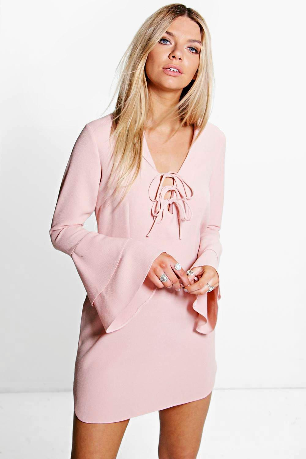 Amelia Ruffle Sleeve Lace Up Shift Dress