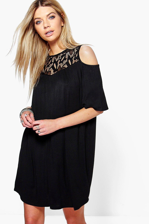 Lace Cold Shoulder Swing Dress black